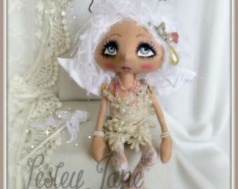 Loxy Swanrider Collectable Pixie Fairy Cloth Art Shabby Chic Lace Doll