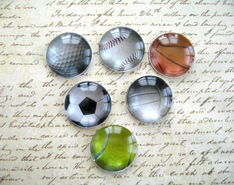 Basketball, Tennis, Golf, Baseball, Volleyball, Soccer, Ball Sports, Ball Magnets Decoration, Sport Magnets- 6 PCS