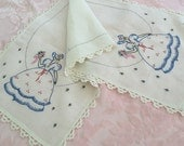 VINTAGE EMBROIDERED Southern Belle Linen Table Runner - Dresser SCARF with Tatted Trim