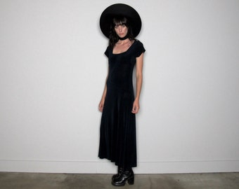 Maxi Dress Dark Blue 90s Minimal Goth Vintage Womens Size S/M