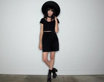 Black Suede Skirt High Rise Waist 90s Mini Skirt Womens Vinage Size S/M