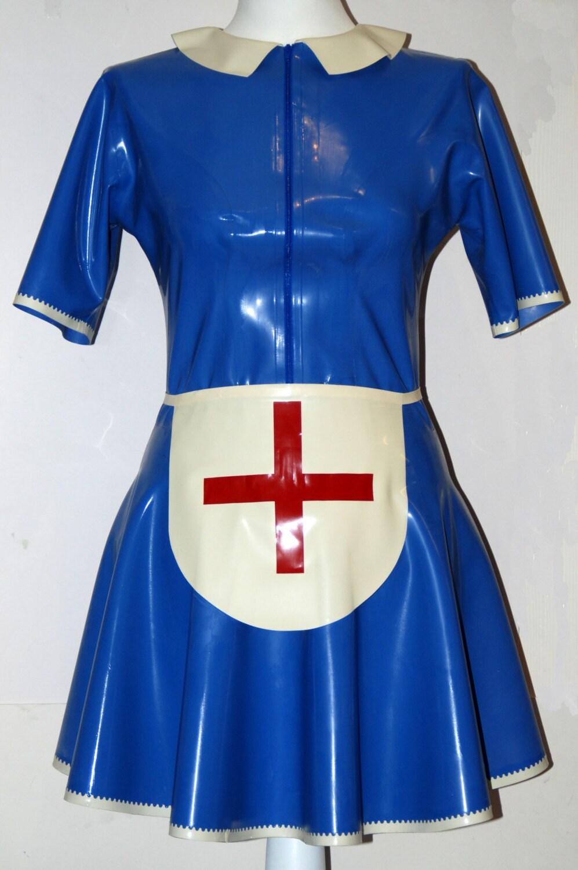 White pinafore apron nurse - Latex Dress Latex Nurse Dress And Apron