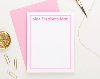 Personalized Stationery set for girls, Personalized Stationary Set, Custom Stationery Set, Personalized Flat Note cards, Set of 10, KS046