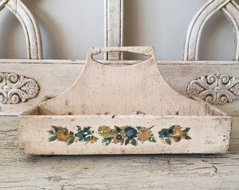 Rustic White Catchall Tote with Decals - Perfect for Potted Herbs or Craft Supplies - Very Distressed White Wood Tray