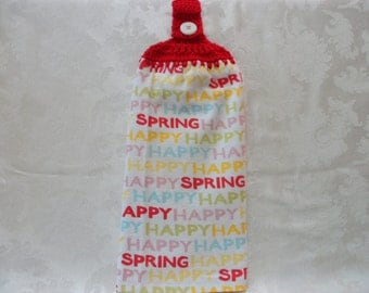Hanging Double Kitchen Towel Happy Spring Towel  Crochet Top Hanging Kitchen Towel