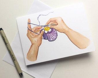 Crochet Pansy, 5x7 card, Ready to Ship, Happy hooker