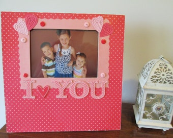 5x7 I Love You Themed - Hand Decorated Picture Frame