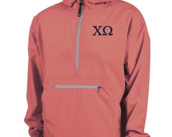 Chi Omega Unlined Anorak (Coral)