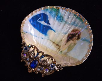 Shell Dish Sun Bathing Mermaid Large Shell Jewelry Dish