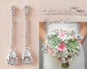 Crystal Bridal earrings Wedding jewelry Swarovski Crystal Wedding earrings Bridal jewelry, Sophia Bridal Earrings
