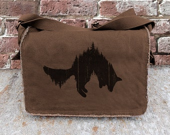 Messenger Bag - Fox and Forest - Screen Printed Cotton Canvas Messenger Bag