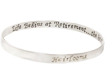 Sterling silver bangle, two sided, inside message, secret message bangle, double sided engraved bangle, custom message bangle, personalized