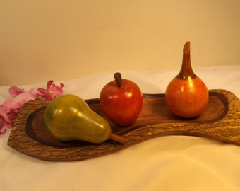 Wooden fruits on the wooden tray.Gift. Home decor still life