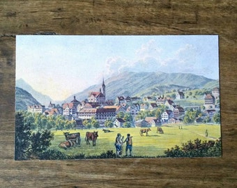 Vintage Calendar Card Depicting Grendelwald, Switzerland