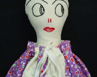 "Charming Antique Laundry Bag Doll, Folk Art, Hand Made c.1920's ""Suki"""