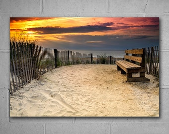 Beach Sand Dune Ocean Sunrise, Extra Large Wall Art, Vivid Metal Print, Seascape Photography, Home or Office large wall decor, Ready to Hang