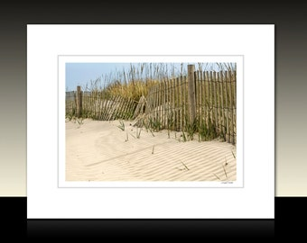 Beach Sand Dune and Fence Matted Print, Beach theme art, Beach House wall decor, Ready for framing or framed