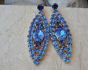 Royal blue chandelier earring – Etsy:Oversized Blue Earrings, Blue Chandelier Earrings, Sapphire Swarovski  Earrings, Big Evening Earrings, Rhinestone Royal Blue Stud Earrings,Lighting