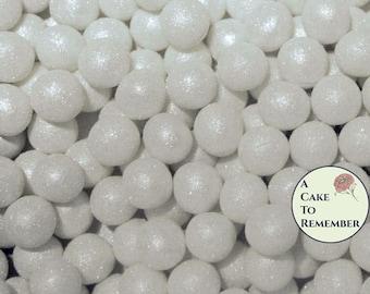 100 8mm fondant cake pearls, sugar gems for cake decorating, cupcake pearls, cake bling, edible cake jewels, edible pearls, sugar pearls