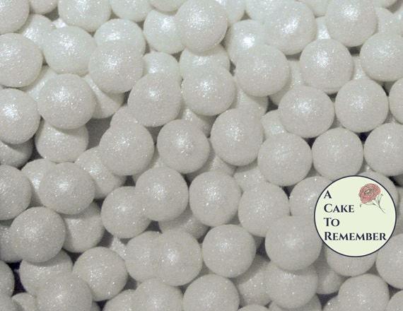 100 8mm fondant cake pearls. Sugar gems for wedding cakes or