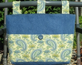 Adult Woman Walker Bag Tote Caddy Purse – Medium Blue Denim Bag, Pastel Yellow & Blue Paisley Butterfly Pockets and Straps, Blue Button