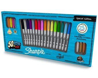 Sharpie Fine Point Special Edition Permanent Markers - 23 Assorted Colors with 16 Fine Tip, 4 Neon & 3 Metallic Markers (191933)