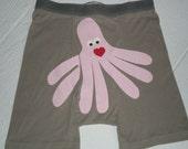 Grey beige, Valentino Octopants, the seven legged octopus boxer shorts. Mens underwear. Size medium, Valentines Day