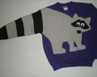 Raccoon Sweatshirt, raccoon tail sweatshirt, childrens sweatshirt, size small, medium. large, XL top.