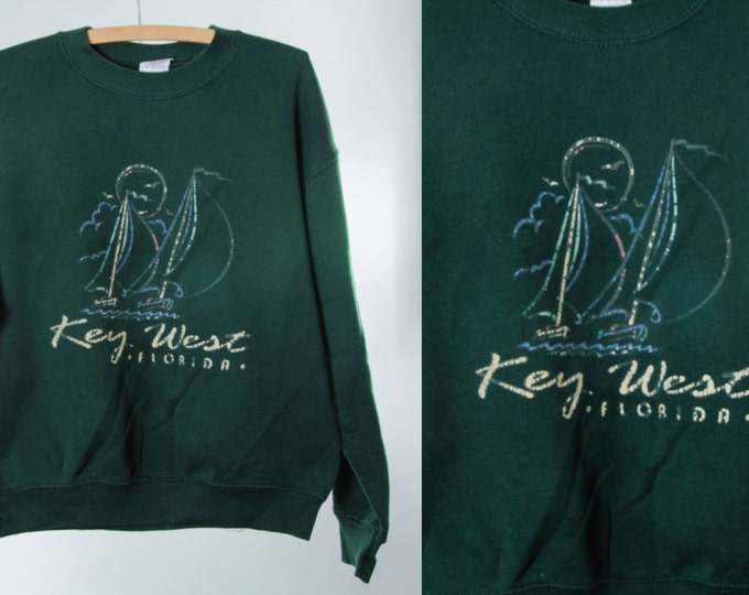 Medium 1980s 1990s Vintage Key West Sweatshirt   Distressed Sailboat Florida   Unisex   5FF