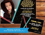 Star Wars Inspired Birthday Invitation with Free Thank You Note