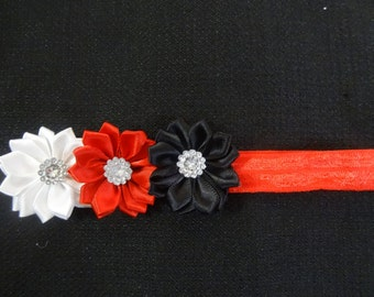 Red, Black, and White triple flower headband