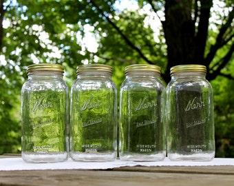 4 HALF GALLON Kerr Self Sealing Wide Mouth Mason Jars - Farmhouse Kitchen ~  Pantry Storage - Insurance w/Shipping