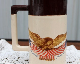 McCoy Spirit of Seventy-Six Stoneware Stein ~ National Gallery of Art ~ Carved Wooden Eagle Dsgn ~ USA Pottery ~ Insurnace w/Shipping