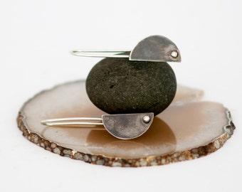 Sterling Silver Modern Drop Earrings, Geometric silver earrings, Unique Everyday earrings, Half moon earrings