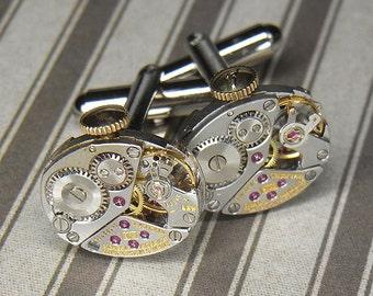 Steampunk Cufflinks Cuff Links - LONGINES Watch Movements TORCH SOLDERED - Elegant Bright Silver Oval Shaped - Wedding Anniversary Gift