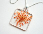 Orange Queen Anne's Lace - Real Flower Garden Necklace - botanic jewelry, pressed flowers, flower necklace, natural, Spring Summer, ooak