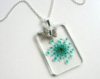 Turquoise Queen Anne's Lace and Butterfly - Real Flower Garden Necklace - botanic jewelry, pressed flower necklace, Summer jewelry, ooak