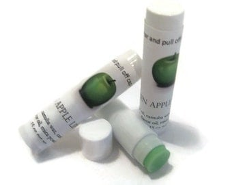 Green Apple Lip Balm, NEW LOWER PRICE,  Green Apple flavor, gift idea, soft lips
