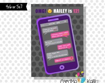 Printable Cell Phone iPhone iPad Texting Emoji Pink or Purple Birthday Party Invitation - Printable Digital File