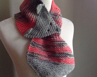 Pink Scarf, Knit Fox Scarf, Little Girl Scarf, Fox Scarf, Child Infinity Scarf, Toddler Scarf, Animal Scarf, Pink and Grey Scarf