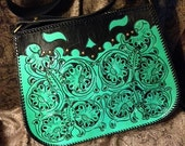 Turquoise Zipped Shoulder  Bag