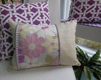 Purple Flower Pillow - Designer Pillow - Beach House - Beige Pillow - Pillow With Piping - Lilac Pillow - Lavender Pillow - Violet Pillow