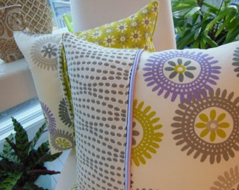 Bohemian Chic Pillow - Taupe Pillow -  Green Pillow - Grey Pillow - Purple Pillow - Flower Design Pillow - Sterling Pillow - Gray Dot Pillow