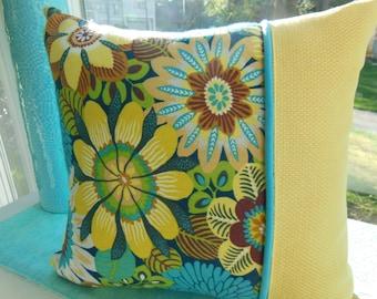 Flower Pillow - Summer Pillow - Yellow Pillow - Turquoise Pillow - Blue Pillow - Jungle Flower Pillow - Reversible 15 x 15 Inch Pillow