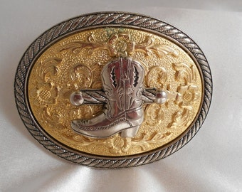 Western Rodeo Cowboy Boot Vintage Belt Buckle Gold Silvertone Rope Trim Southwestern Vintage Belt Buckle Cowboy Boot Whip Handle Oval Buckle