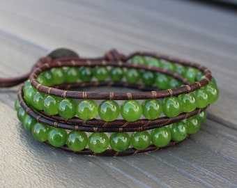 READY TO SHIP - Candy Apple Green Agate Double Leather Wrap Bracelet