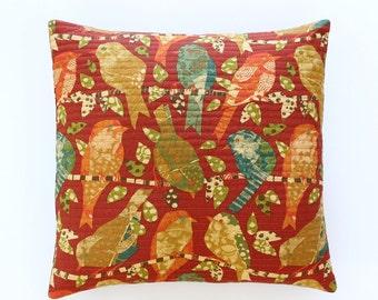 Bird Print Decorative Throw Pillow, Brick Red Pillow Cover