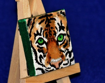 Miniature Canvas Bengal Tiger oil painting - Magnet