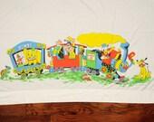 vintage 60s Disney bed sheet Dumbo Donald Pluto Goofy Casey Jr train 1960 bedding fabric material Wamsutta Ultracale twin flat