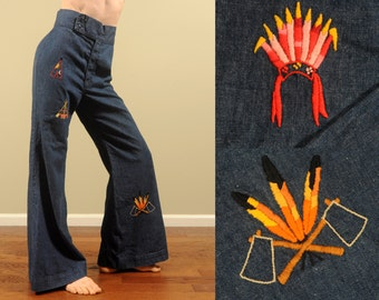 vintage 60s bellbottom jeans Maverick big bell flare pants 1960s hippie pants woodstock funk & flash Native American embroidery M L